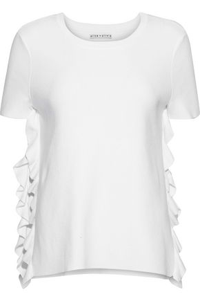 ALICE + OLIVIA JEANS Ivan ruffle-trimmed cotton-blend jersey T-shirt