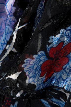 ALICE + OLIVIA Nichola cold-shoulder printed fil coupé silk-blend mini dress