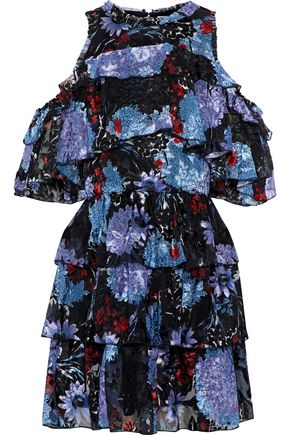 ALICE + OLIVIA Nichola cold-shoulder printed fil coupé silk-blend mini dress