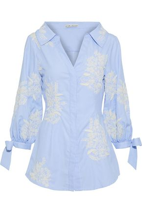ALICE + OLIVIA Toro embroidered striped poplin shirt