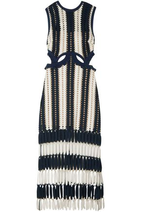 SELF-PORTRAIT Fringed cutout crochet midi dress