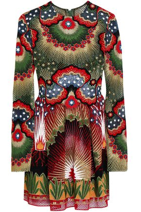 VALENTINO Pintucked point d'esprit, printed crepe and jacquard mini dress