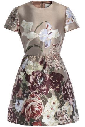 VALENTINO Flared metallic silk-blend jacquard mini dress