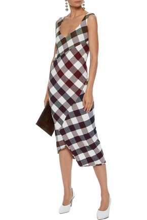 VICTORIA BECKHAM Asymmetric checked knitted midi dress