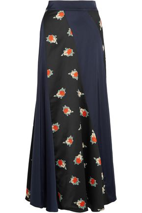 GANNI Paneled floral-print crepe and satin maxi skirt