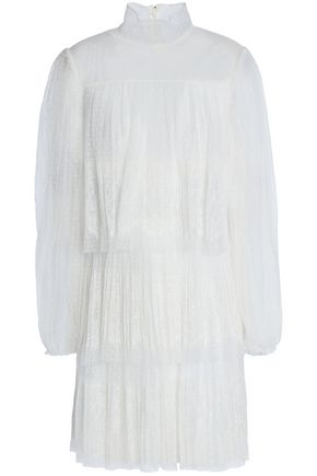 VALENTINO Tiered pleated point d'esprit and corded lace mini dress
