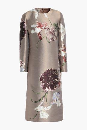VALENTINO Metallic silk-blend floral-jacquard dress