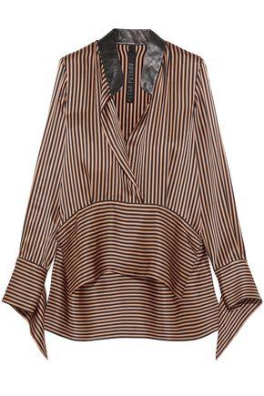 PETAR PETROV Leather-trimmed asymmetric striped silk-satin blouse