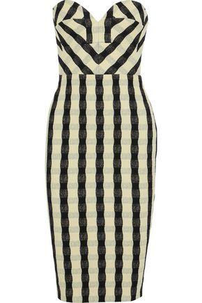 VICTORIA BECKHAM Strapless striped cloqué dress