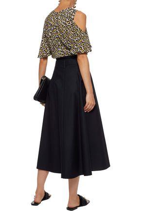 DEREK LAM Cold-shoulder leopard-print silk crepe de chine top