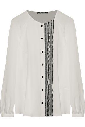 DEREK LAM Lace-trimmed silk-crepe blouse