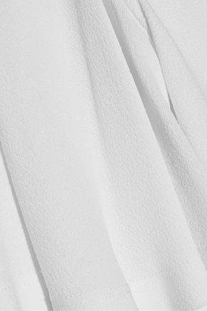 DEREK LAM Cold-shoulder ruffled crepe top