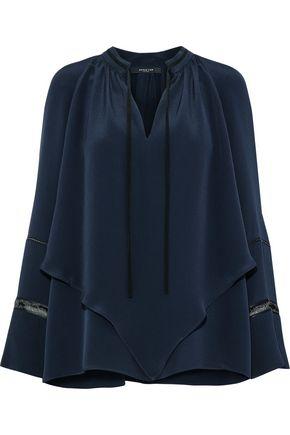 DEREK LAM Open knit-trimmed layered silk-satin blouse