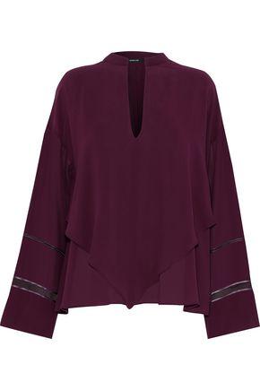 DEREK LAM Layered cutout silk crepe de chine blouse