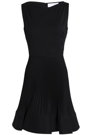 VALENTINO Flared wool-blend crepe mini dress