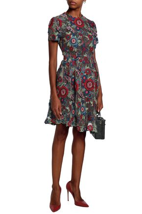VALENTINO Embroidered tulle and jacquard dress