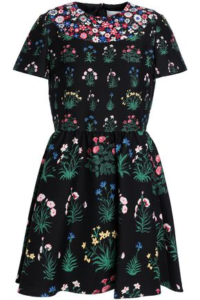 VALENTINO Gathered floral-print wool and silk-blend crepe mini dress