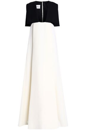VALENTINO Cape-embellished two-tone wool gown