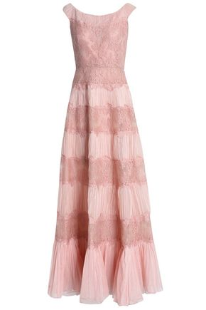 VALENTINO Flared pleated silk-tulle and lace gown