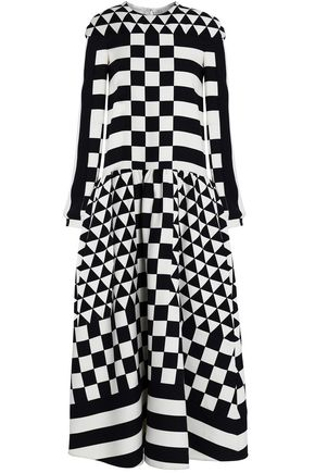 VALENTINO Printed wool and silk-blend twill midi dress