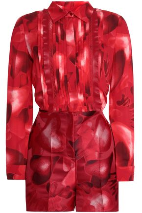 VALENTINO Leather-trimmed printed silk-crepe and jacquard playsuit
