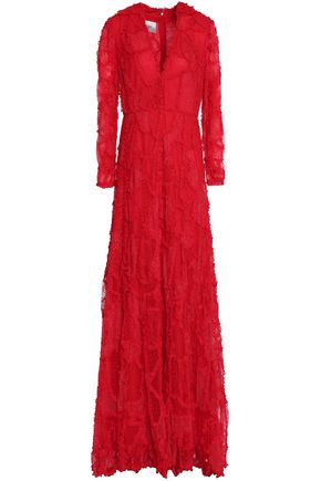 VALENTINO Ruffle-trimmed lace gown