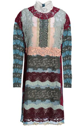 VALENTINO Paneled silk-blend lace mini dress