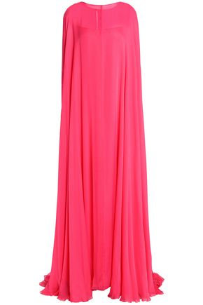 VALENTINO Cape-effect silk-voile gown