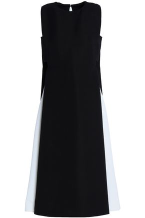 VALENTINO Cutout two-tone wool midi dress