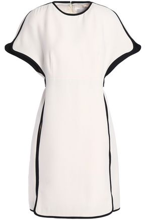 VALENTINO Leather-trimmed wool and silk-blend crepe mini dress