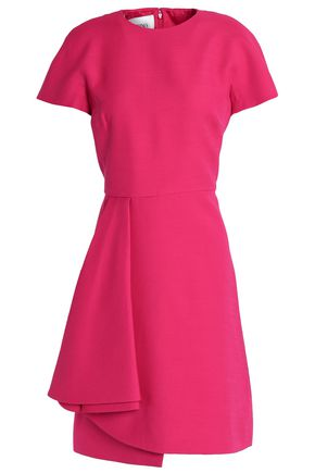 VALENTINO Ruffled wool and silk-blend crepe dress