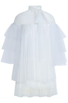 VALENTINO Bow-detailed tiered point d'esprit mini dress