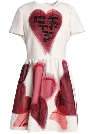 VALENTINO GARAVANI Embellished tulle-appliquéd wool and silk-blend mini dress