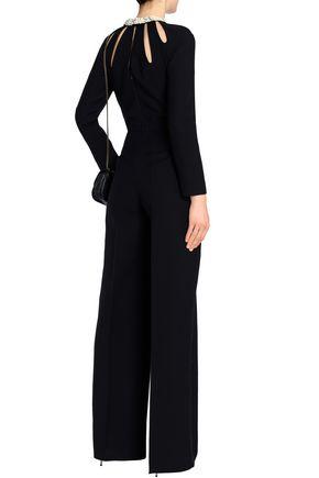 VALENTINO Cutout floral-appliquéd crepe jumpsuit