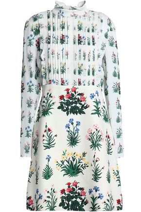VALENTINO Pintucked floral-print crepe de chine and silk-twill mini dress