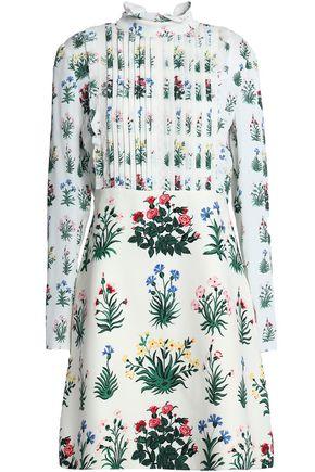 VALENTINO GARAVANI Pintucked floral-print crepe de chine and silk-twill mini dress