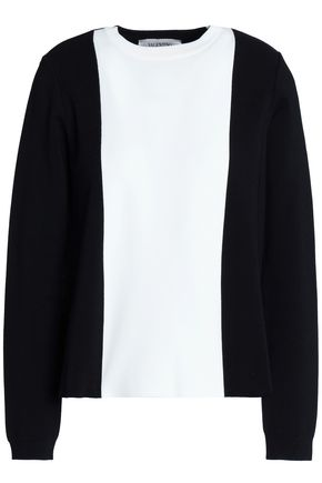 VALENTINO Pleated two-tone knitted sweater
