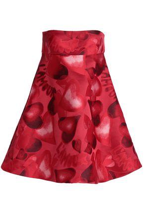 VALENTINO Strapless flared jacquard mini dress