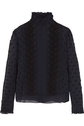 SEE BY CHLOÉ Ruffle-trimmed embroidered georgette blouse