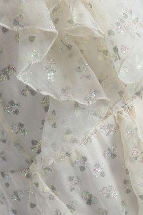 VALENTINO Ruffled glittered silk-georgette gown