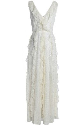 VALENTINO GARAVANI Ruffled glittered silk-georgette gown