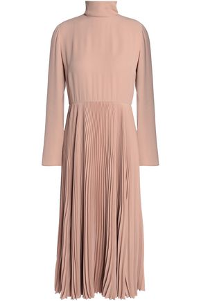 VALENTINO Plissé crepe midi dress