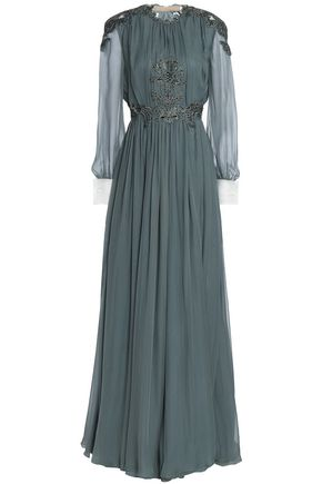 VALENTINO Open-back embellished silk-voile gown