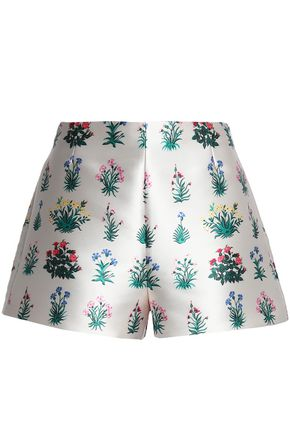 VALENTINO Floral-print satin shorts