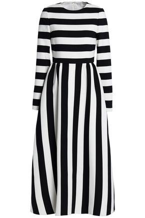 VALENTINO Striped wool and silk-blend twill midi dress