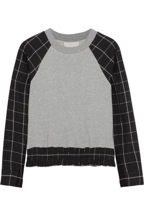 3.1 PHILLIP LIM Checked cotton-flannel and jersey top