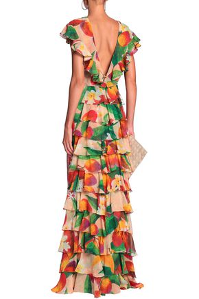 ISOLDA Peacock tiered silk-georgette gown
