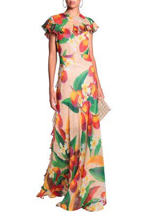 ISOLDA Peacock tiered silk-georgette gown