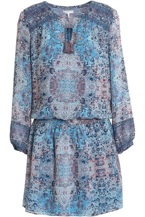 JOIE Gathered printed silk crepe de chine mini dress