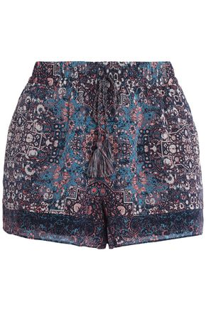 JOIE Printed silk crepe de chine shorts